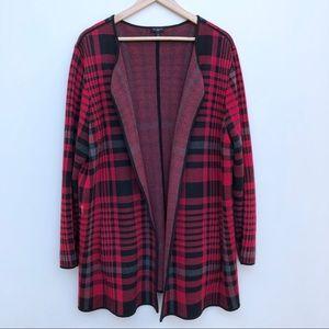 Talbots Red Plaid Cardigan Sweater Coat